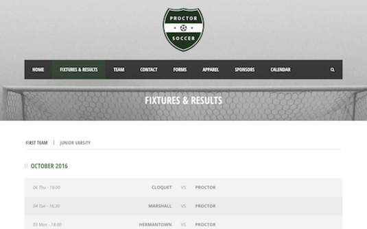 Soccer Team Website